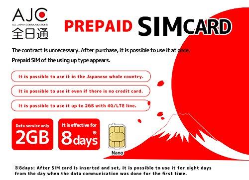 8 DAYS DATA SIM - JAPAN NTT Docomo 4G/LTE PREPAID NANO SIM CARD