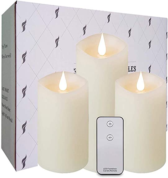 3-Pack Flameless Candles Flickering – Battery Operated Candles Include Realistic Dancing LED Flames Remote Control with 24-Hour Timer Function 800 Hours Electric LED Candle Sets 7 Ivoryx1 5 Whitex2