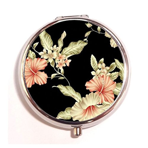 Tumblr Vintage Floral Rose Fashion Custom Round Silver Pill Box Pocket 2.1 inches Medicine Tablet Holder Organizer Case for ()