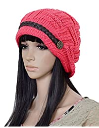 ArRord® Women Knit Snow Hat Winter Snowboarding Beanie Crochet Cap (Red)