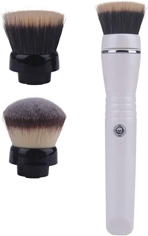 WWWNNUUUX Eléctrica rotativa de Cepillo del Maquillaje, de Carga USB portátil Herramienta de Pincel Cepillos cosméticos para Sombra Cejas Labios Corrector Fundación Mezcla Blush Eyeliner,Blanco