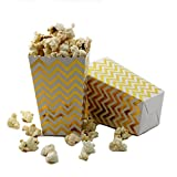 IPALMAY 36 PCS Mini Paper Popcorn Boxes - Treat Boxes - Gift Boxes - Candy Boxes, Family Movie Night Boxes, Gold and White Chevron