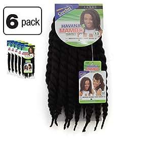 "6 Pack of Janet Collection Havana Medium Mambo Twist Braid 12"" Color 1B (Off Black)"