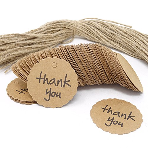 Honbay 100PCS Thank You Brown Kraft Paper Scalloped Round Tags with 100PCS Jute Twines for Weddings, Birthday, Baby Shower, Christmas, Party Favor, DIY Crafts, Gifts,etc ()