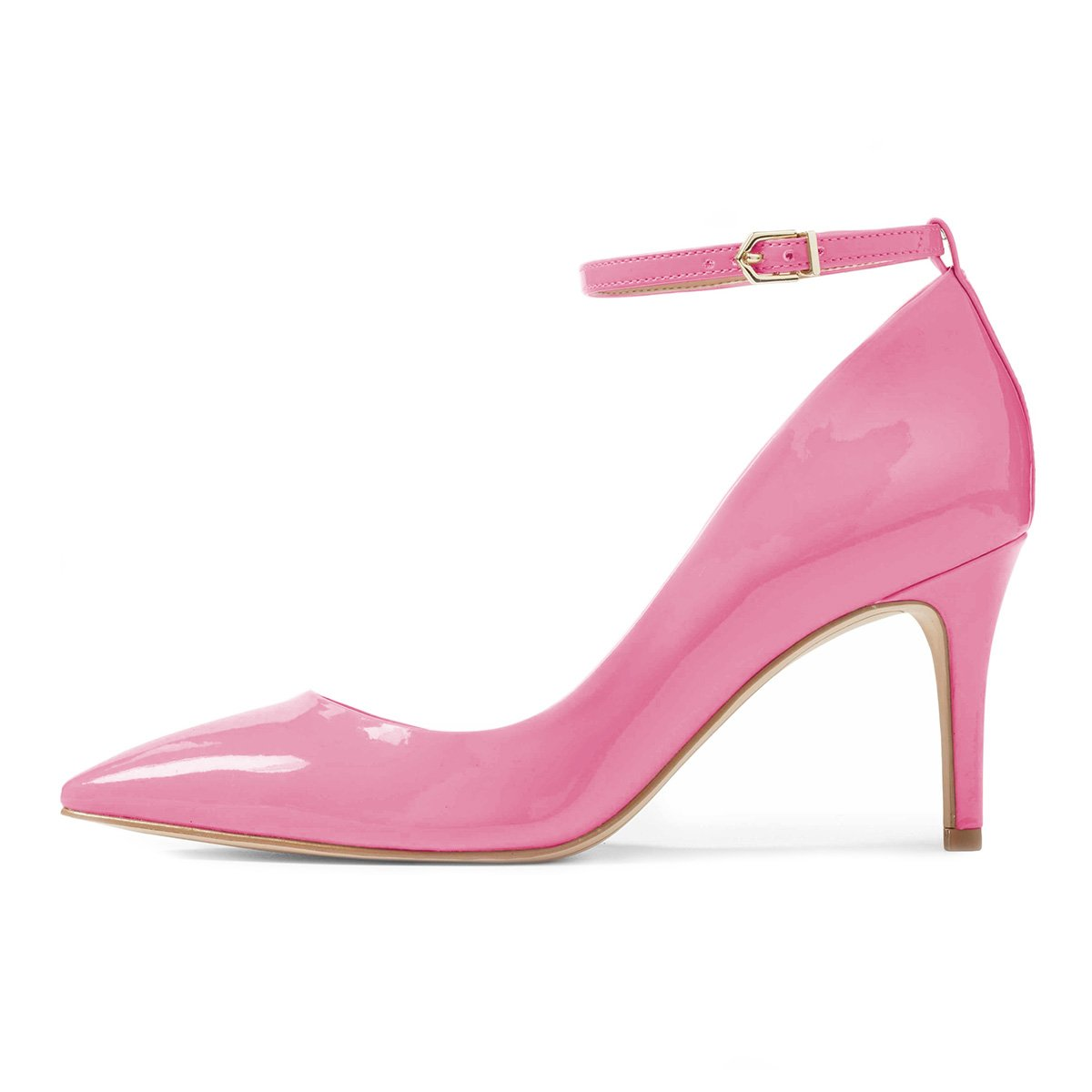XYD Women Pointed Toe D'Orsay Mid Heel Pumps Ankle Strap Buckled Wedding Party Dress Shoes B078XPGN26 15 B(M) US Hot Pink