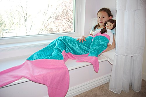 Girl + Doll Mermaid Tail Blanket Set, Candy Pink, Made in the USA