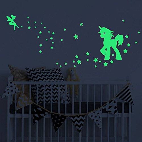 - akeke Glow in The Dark Unicorn Stars Wall Decal, Unicorn Floral Decal Fairytale Fairy Stickers Wall Decal Girls Bedroom Home Decor