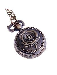 Ladies Pendant Pocket Watch Antique Look Quartz With Chain Small Face White Dial Arabic Numerals Vintage Necklace Rose Design - PW-60