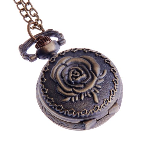 Ladies Pendant Pocket Watch With Chain Small Face White Dial Arabic Numerals Rose Flower Emboss PW-60