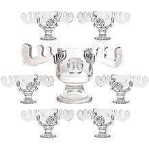 Christmas Vacation Glass Moose Mug Punch Bowl Set w/ Set of 6 Moose Mugs