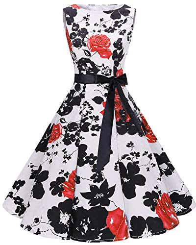 Bbonlinedress Women's 1950s Audrey Summer Vintage Rockabilly Swing Dress RedFlower M -