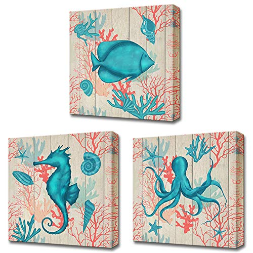 LoveHouse Ocean Theme Bathroom Wall Art Sea Animal Seahorse Octopus Tropical Fish Canvas Prints Wall Art 12 x 12 Panel Set of 3 Home Decoration Framed and Stretched Ready to Hang ()