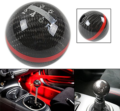 JDM ROUND BALL TYPE STYLE REAL CARBON FIBER 6 SPEED MANUAL SHIFT SHIFTER GEAR KNOB SELECTOR W/ COLOR STRIP (RED)