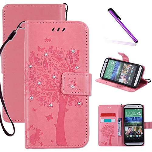 HTC One M8 Case, LEECOCO Embossed Floral 3D Handmade Bling Crystal Diamonds Butterfly with Card Slots Magnetic Flip Stand PU Leather Wallet Case for HTC One M8 Wishing Tree Pink
