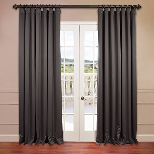 Half Pole (Half Price Drapes BOCH-201403-120-DW Doublewide Blackout Curtain header is Pole Pocket with Hook Belt and Back Tabs.)