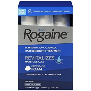 Rogaine for Men Hair Regrowth Treatment, 5% Minoxidil Topical Aerosol, Easy-to-Use Foam, 2.11 Ounce