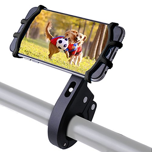 Cheap Bike Phone Mount, Bicycle Motorcycle Phone Mount Holder Universal Cell Phone Holder Case Compatible Bike, 360 Degrees Rotatable Adjustable Silicone Cell Phone Mount Compatible iPhone X 8 7 (Black)