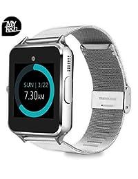 MyTECH Smartwatch Z60 Reloj Celular con Extensible de Metal Bluetooth Cámara para iPhone Android (Plata)