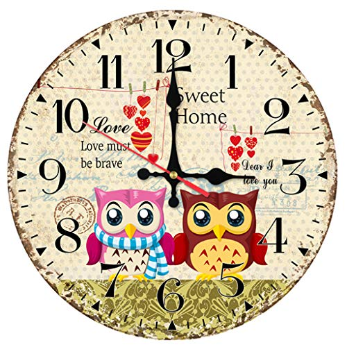 Zdtxkj Wall Clock Wooden Clocks Home Decor Quartz Watch Single Face Still Life Modern Cartoon Animals Stickers]()