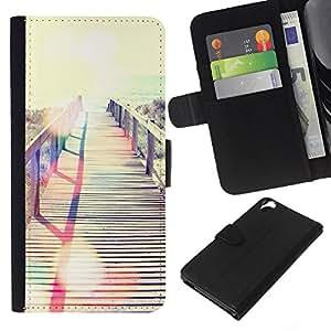 KLONGSHOP // Tirón de la caja Cartera de cuero con ranuras para tarjetas - Verano Miami Mar Mar Beach - HTC Desire 820 //