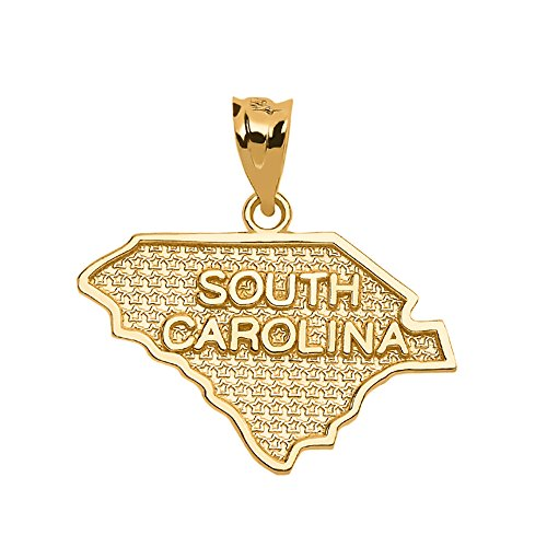 (South Carolina State Map Charm Pendant in 14k Yellow Gold)