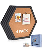 AkTop Cork Bulletin Board Hexagon 4 Pack, Small Framed Corkboard Tiles for Wall, Thick Decorative Display Boards for Home Office Decor, School Message Board with 16 Push Pin Wood Clips, Black