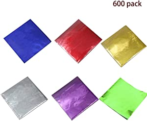 """600 Pcs 6 Colors Chocolate Candy Wrappers Aluminium Foil Paper Wrapping Papers Square Sweets Lolly Paper Food Safety Candy Tin Foil Wrappers for Candy Packaging Decoration (3.2""""x3.2"""") eware"""