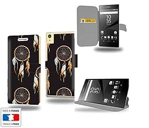 Dreamcatcher Collection Pattern Funda de Cuero para Sony Xperia Z5 Premium Flip Case Cover (Estuche) PU Cuero - Funcion de Soporte / Billetera con Tapa para Tarjetas- Accesorios Case Industry Protector