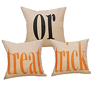 Decemter 3-Pack Halloween Treat or Trick Home Decor Square Throw Pillow Covers 18″ x 18″