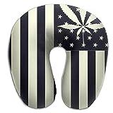 Cannabis Leaf Unscented Neck Pillow Spa Memory Foam U-SHAPE Travel Unisex