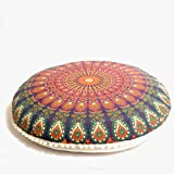 "Bohemian Ombre Indian Mandala Pouf / Floor Cushion Cover,Organic Cotton, Hand Printed, 30"" by MandalaLifeART (Orange)"