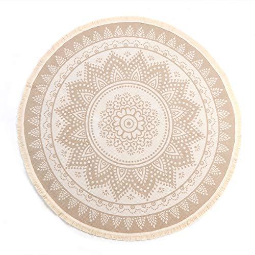 LEEVAN Round Area Rug,Hand Woven Cream Chic Bohemian Mandala Print Tassels Door Mat,Indoor Floor Area Mats Compatible Bedroom,Living Room,Children Playroom,Coffee, 4' Diameter