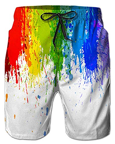Alistyle Mens 3D Rainbow Ink Print Summer Beach Pants Shorts Trousers Bottoms Drawstring,Ink ()