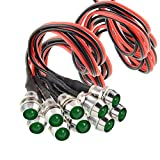 """Amotor 10Pcs 8mm 5/16"""" LED Metal Indicator Light 12V Waterproof Signal Pilot Lamp Dash Directional Car Truck Boat with Wire (Green)"""