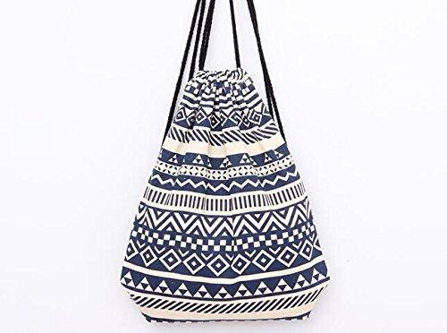 Bolso de playa para mujer estilo árabe (color azul y blanco), rojo (blanco) - BE0002 azul