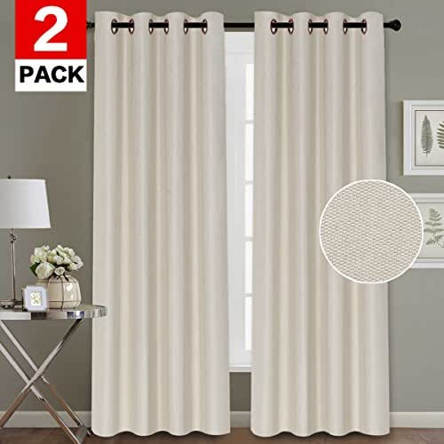 H.VERSAILTEX Energy Efficient Window Treatment Panels Noise Reducing Thermal Insulated Textured Faux Linen Grommet Curtains for Living Room (2 Panels, 52 x 84 Inch, Ivory)