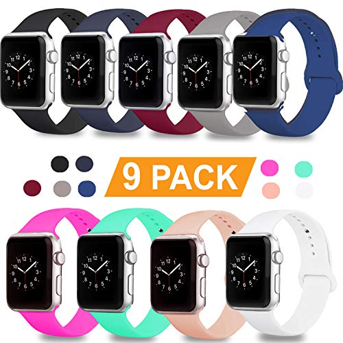 DOBSTFY Compatible for iWatch Bands 38mm 42mm,Soft Silicone Sport Band Replacement Wristband Compatible for iWatch Series 1/2/3/4, Ni ke+, Sport, Edition, 38mm S/M, 9PACK