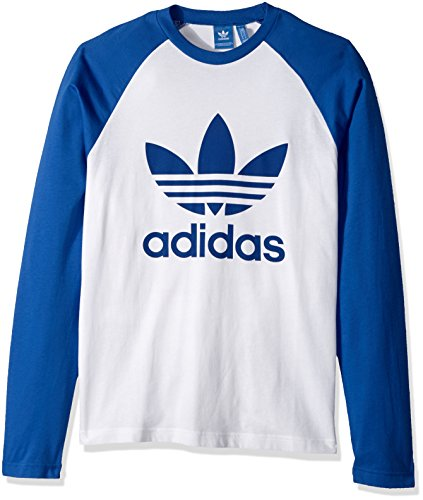 adidas Originals Men's Long Sleeve Trefoil Tee, White/Blue, Medium