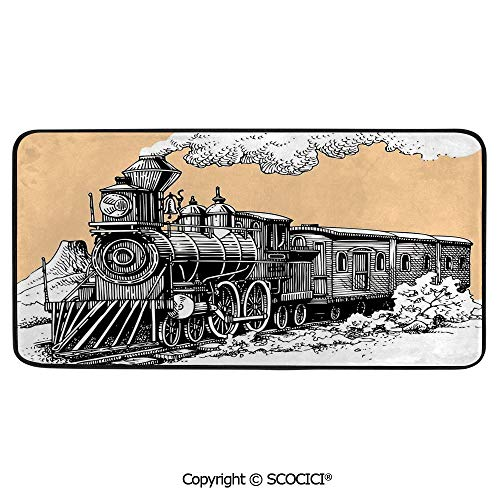 Rectangular Area Rug Super Soft Living Room Bedroom Carpet Rectangle Mat, Black Edging, Washable,Steam Engine,Vintage Wooden Train Rail Wild West Wagon in Countryside,39