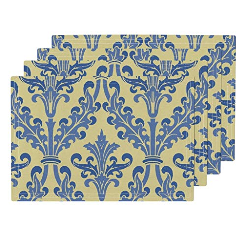 Roostery Provincial 4pc Eco Canvas Cloth Placemat Set - French Yellow Butter Blue Wallpaper by Peacoquettedesigns (Set of 4) 13 x 19in
