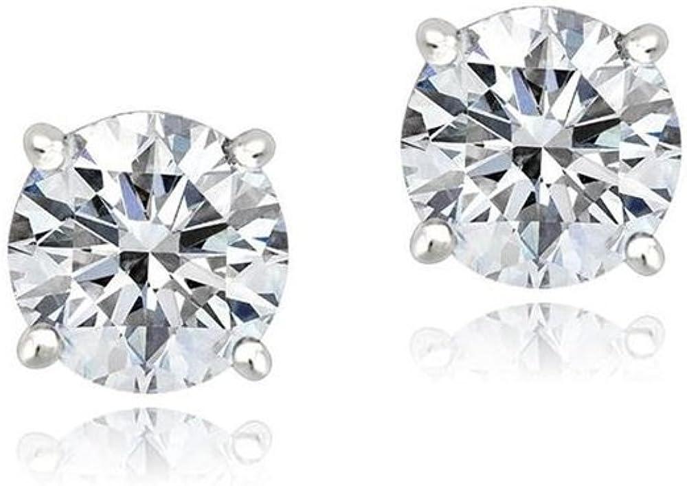 6mm Star Glitzs Jewels 925 Sterling Silver Cubic Zirconia CZ Stud Earrings for Women Green