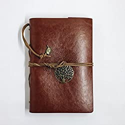 Vintage Bound Leather (PU) Diary, Mindfulness & Gratitude Journal, Student Agenda or Professional Planner, For Men, Women, Boys & Girls - Ancient Oak Embossing