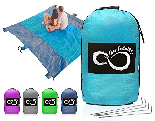 Sand Free Compact Outdoor Beach / Picnic Blanket- Huge-9' x 10' For 7 Adults- Best Mat For Festivals & Hiking-Very Soft & Quick Drying Ripstop Nylon- 5 Weightable Pockets (Bright Blue Middle)