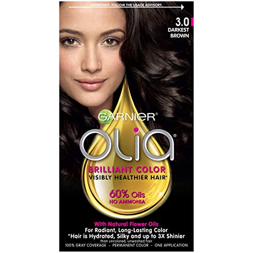Garnier Olia Ammonia Free Permanent Hair Color, 100 Percent Gray Coverage (Packaging May Vary), 3.0 Darkest Brown Hair Dye, 1 Kit (Best Hair Colour For Womens)