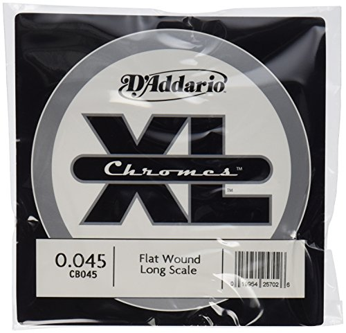 D'Addario Single Bass Chromes Flat Wound 045 Long Scale  Strings Daddario Chrome Bass Strings