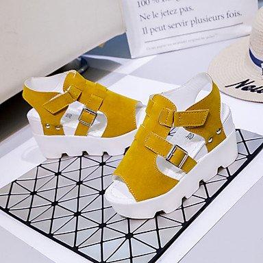 LvYuan Tacón Plano-Confort-Sandalias-Informal-PU-Negro Amarillo Blanco Gris Yellow