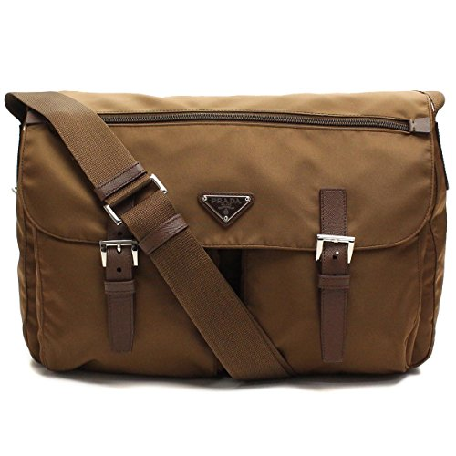 Prada Tessuto Corinto Brown Nylon Pattina Messenger Bag BT1738 (Messenger Prada Tessuto)