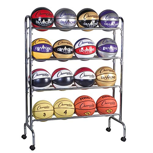 Champion Sports 16-Ball Steel Ball Storage (Best Champion Basketball Balls)