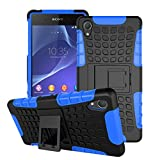 """Xperia Z2 Case, ANGELLA-M Built-in Kickstand Hybrid Armor Case Detachable 2in1 Shockproof Tough Rugged Dual-Layer Cover Case for Sony Xperia Z2 -5.2"""" Blue"""