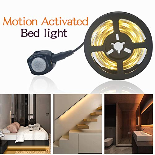 Ubanner Dimmable Motion Activated Bed Light 5ft LED Strip with Motion Sensor and Power Adapter, Bedroom Night Light Amber for Baby, Crib, Bedside, Stairs, Cabinet and Bathroom1.5M